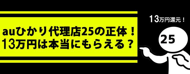 auひかり代理店25のキャンペーンを解説